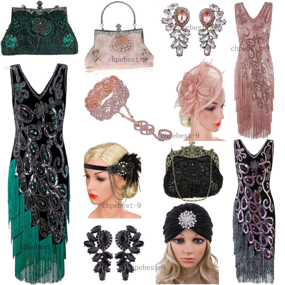 d725e552dc6 Details about Gatsby 1920s Dress Women Vintage 20s Roaring Flapper Costume  Evening Gowns Party