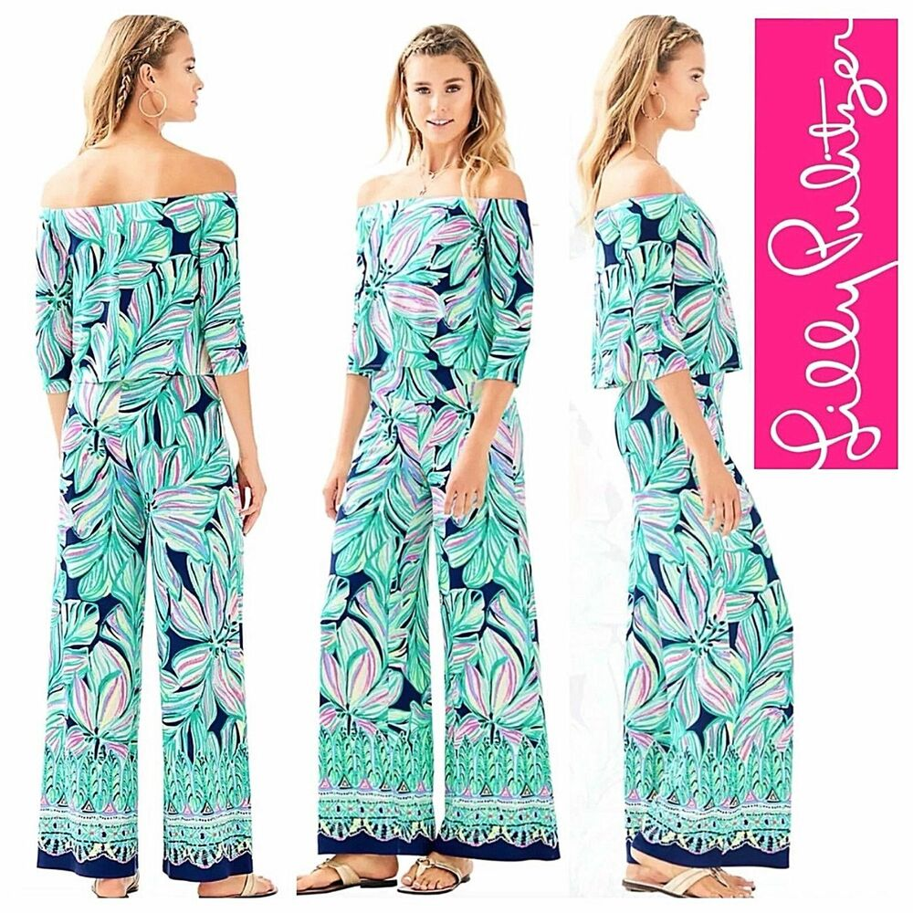 7b0bc1f649875 New Lilly Pulitzer WESLEE SET High Tide Navy Dancing Lady Top Pants Pink S  L