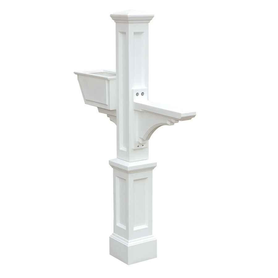 Large White Traditional Decorative Polymer Mailbox Post