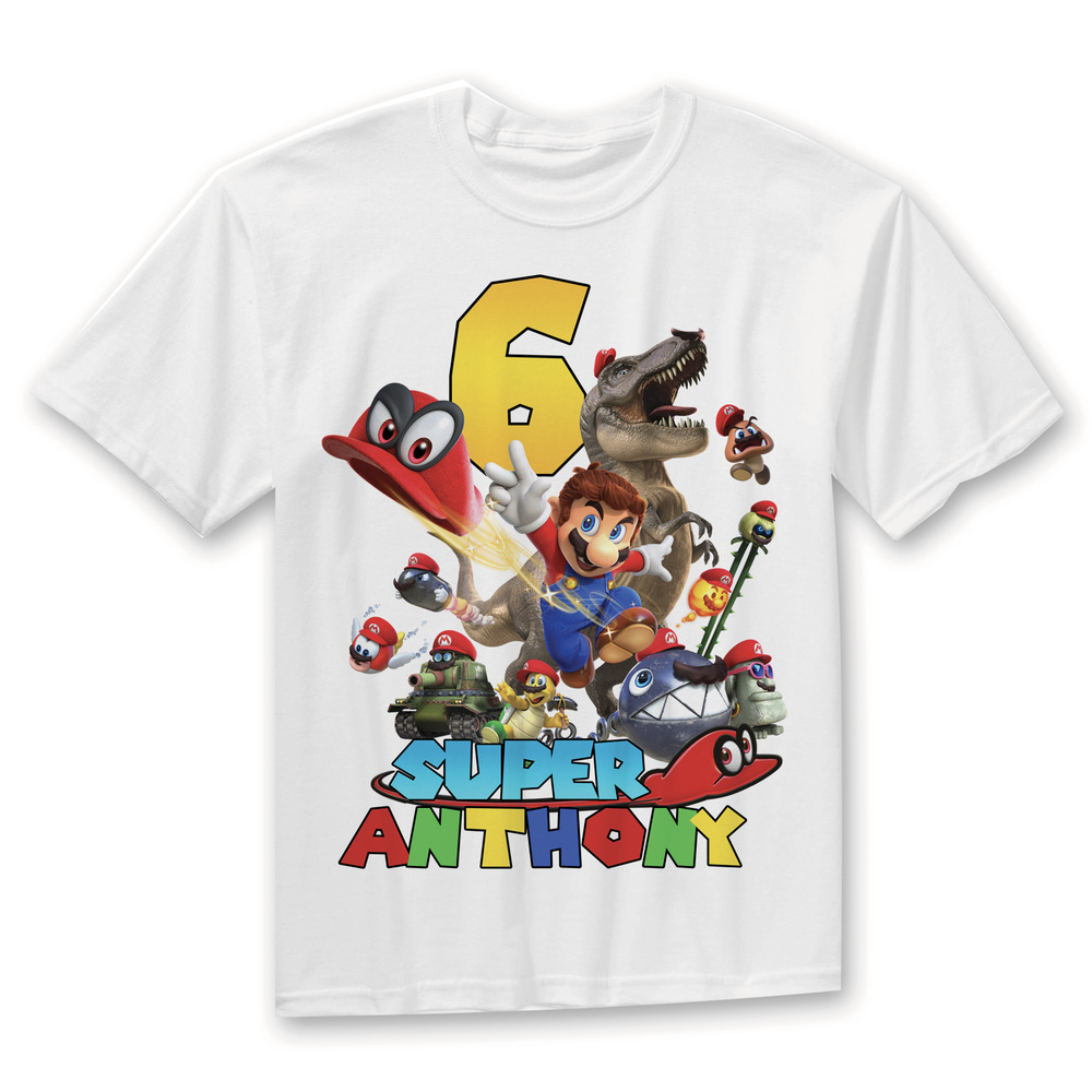 Details About Super Mario Bros Personalized Birthday Party Boy Shirt Family Shirts