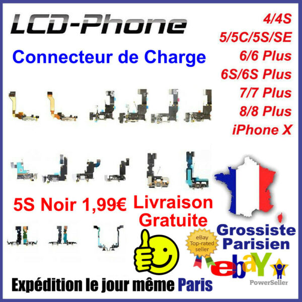 Connecteur De Charge iPhone 4/5/6/6S/7/8 Plus X Micro+Prise Jack+Antenne GSM AAA