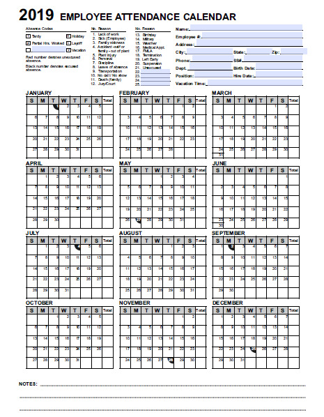 2019 employee  u0026 staff attendance record calendar  choose