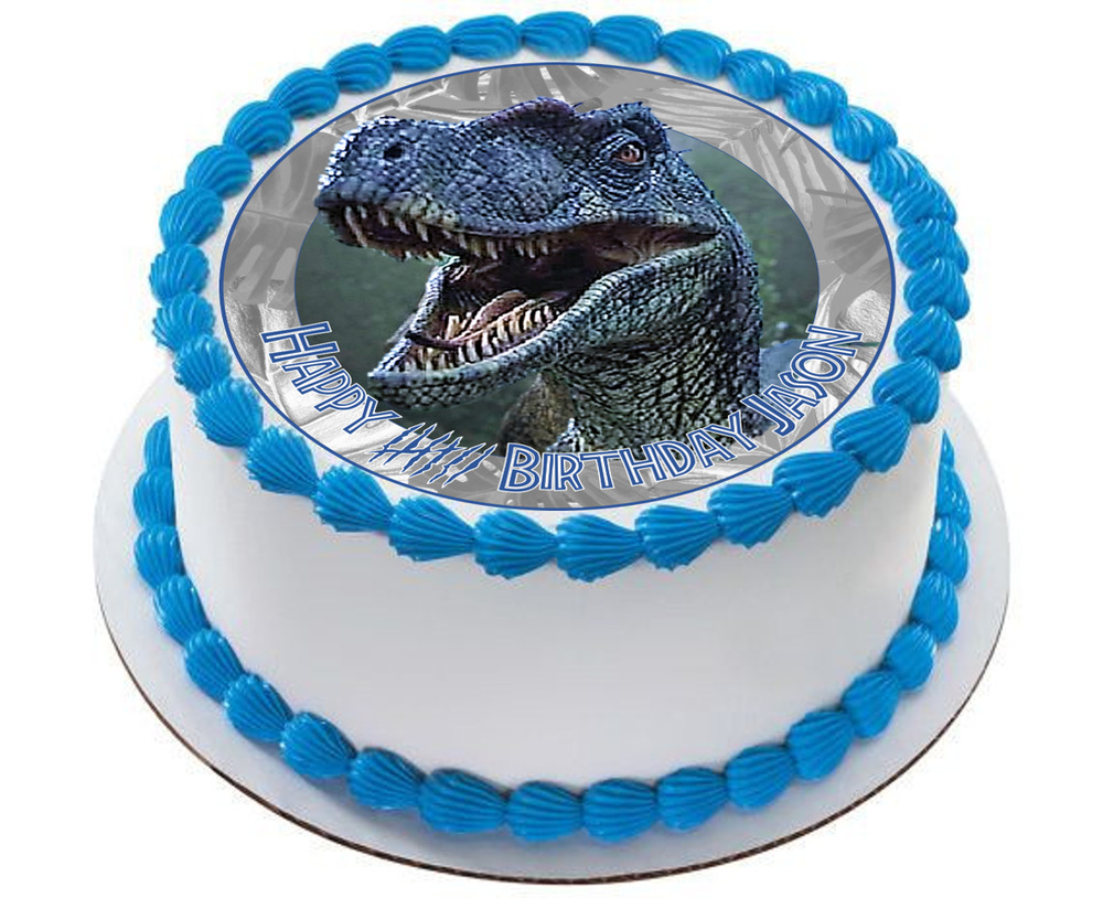 Details About Jurassic World Dinosaur Blue Velociraptor Personalised Edible Cake Topper Party