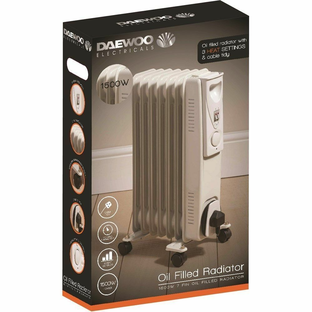 d85730fc9d0 Details about Daewoo White 1500w Watt Oil Filled Radiator Heater +  Thermostat + FREE Timer New