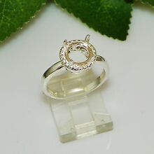 8mm Round Halo ( Cab or Faceted) Sterling Silver Ring Setting Sz7 (#5205