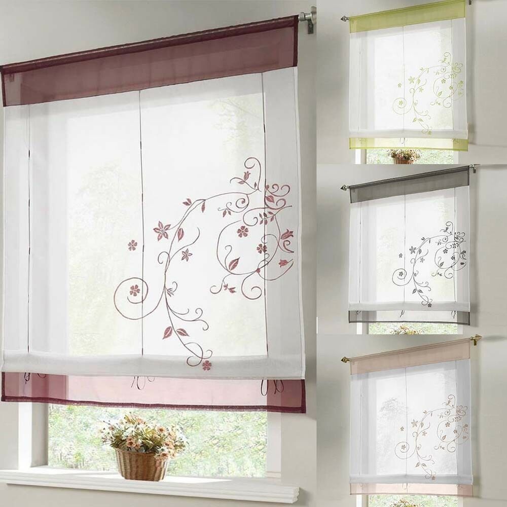 1PCX Voile Tab Top Sheer Kitchen Balcony Window Curtain