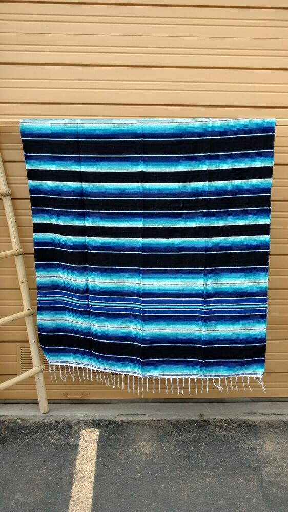 serape xxl 5 39 x7 39 mexican blanket hot rod seat covers motorcycle blue black ebay. Black Bedroom Furniture Sets. Home Design Ideas