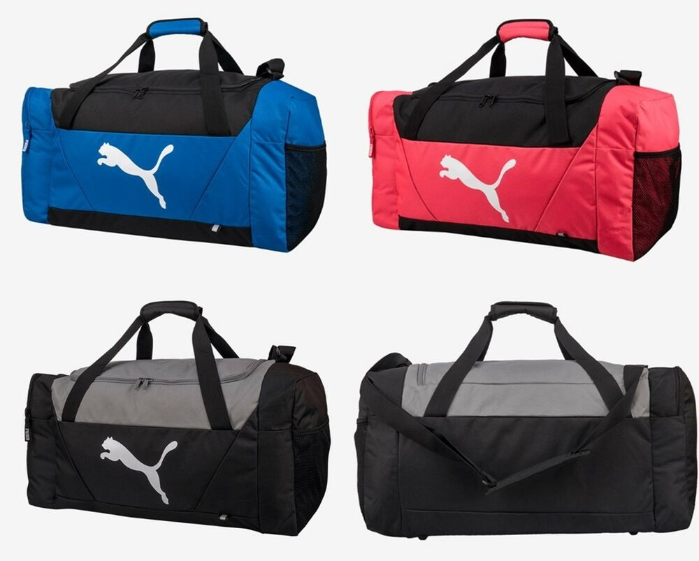 fc682a08bb3 Details about Puma Fendamentals Sports Medium Duffel Bags Running Pink GYM  Bag Sacks 07509703