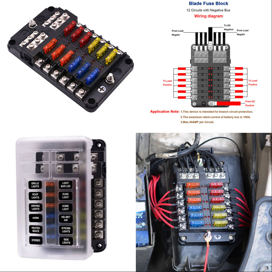 Universal 12v 24v Car Truck Boat 12 Way Standard Led Fuse Box Block Volvo Bus Holder 8680334289207 Ebay