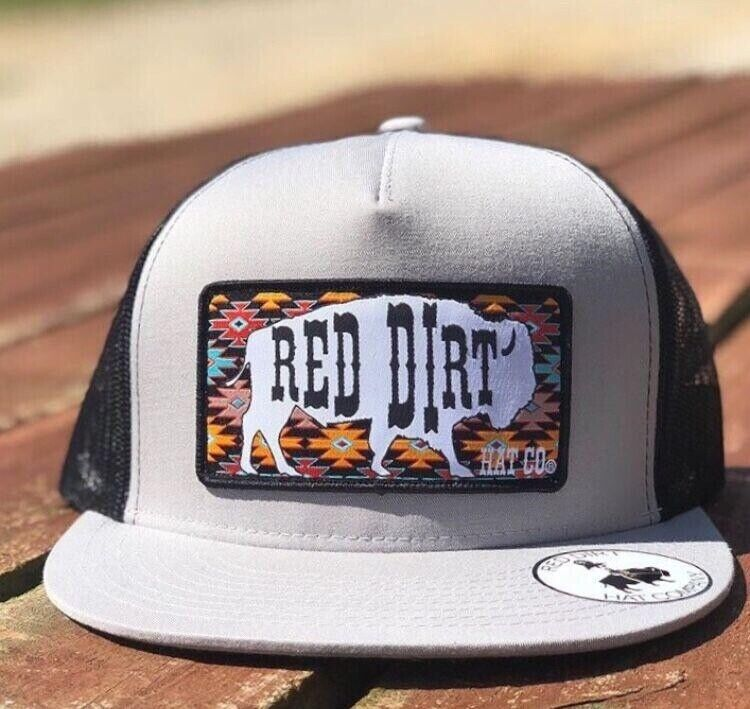 2f3109b347c Details about Red Dirt Hat Co Great White Buffalo Aztec Black Gray Trucker  Snapback Cap RDHC96