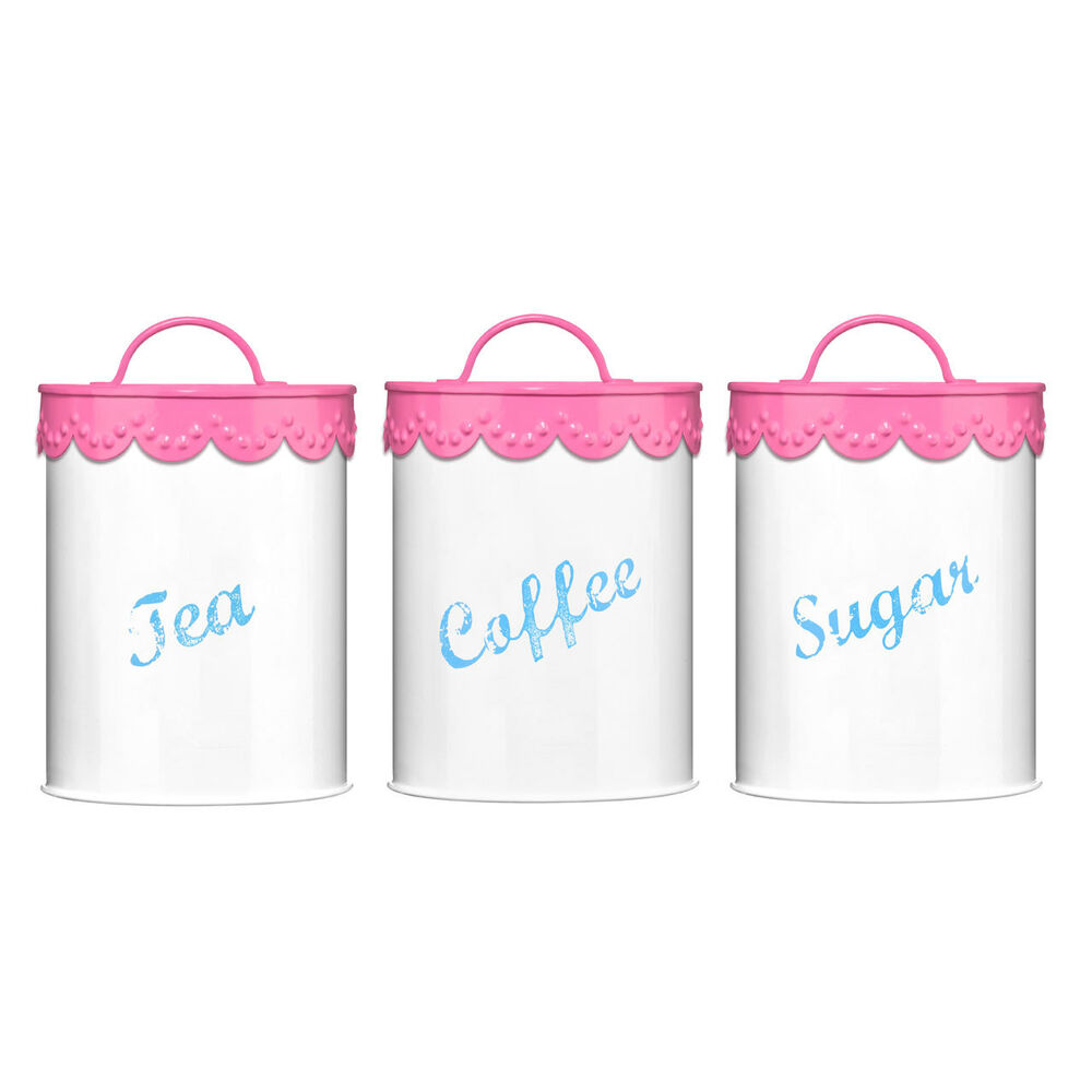Pink Lace Tea Coffee Sugar Canisters Set Galvanised Iron Tin Holders