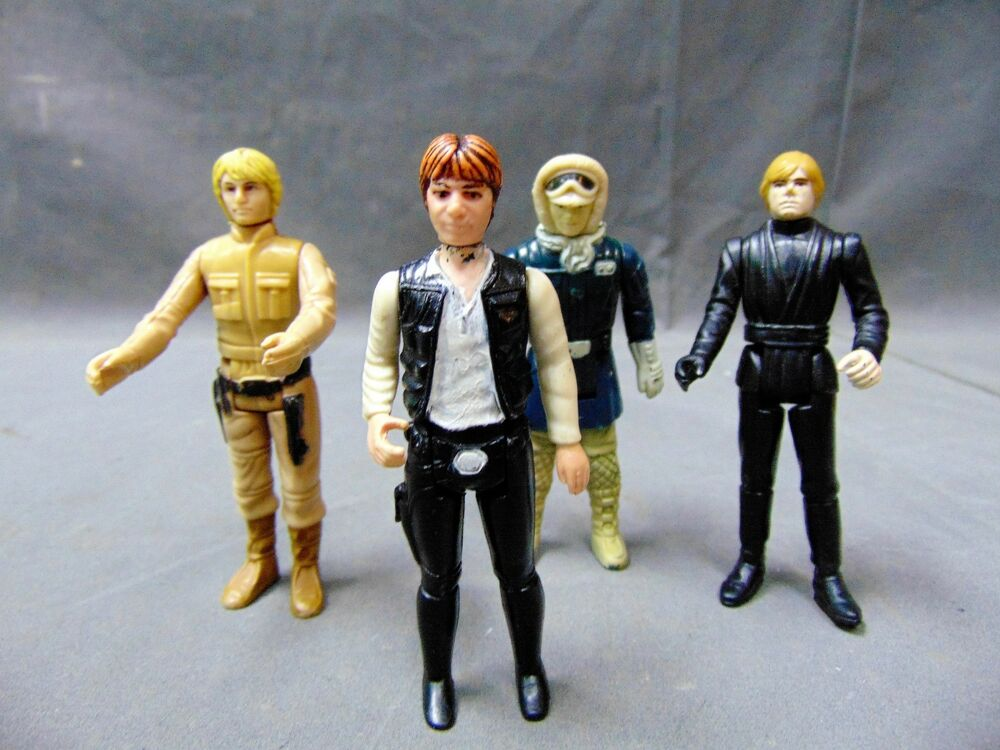 Details about Lot of 4 Vintage Star Wars Collectible Action Figurines Luke,  Han Solo.
