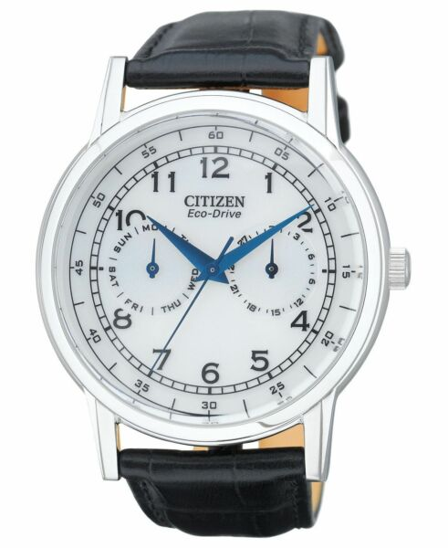 Citizen Eco-Drive Men's White Dial Black Leather Band 42mm Watch AO9000-06B