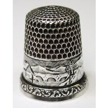 Antique Simons Brothers Sterling Silver Thimble Landscape Country Scene Bridge
