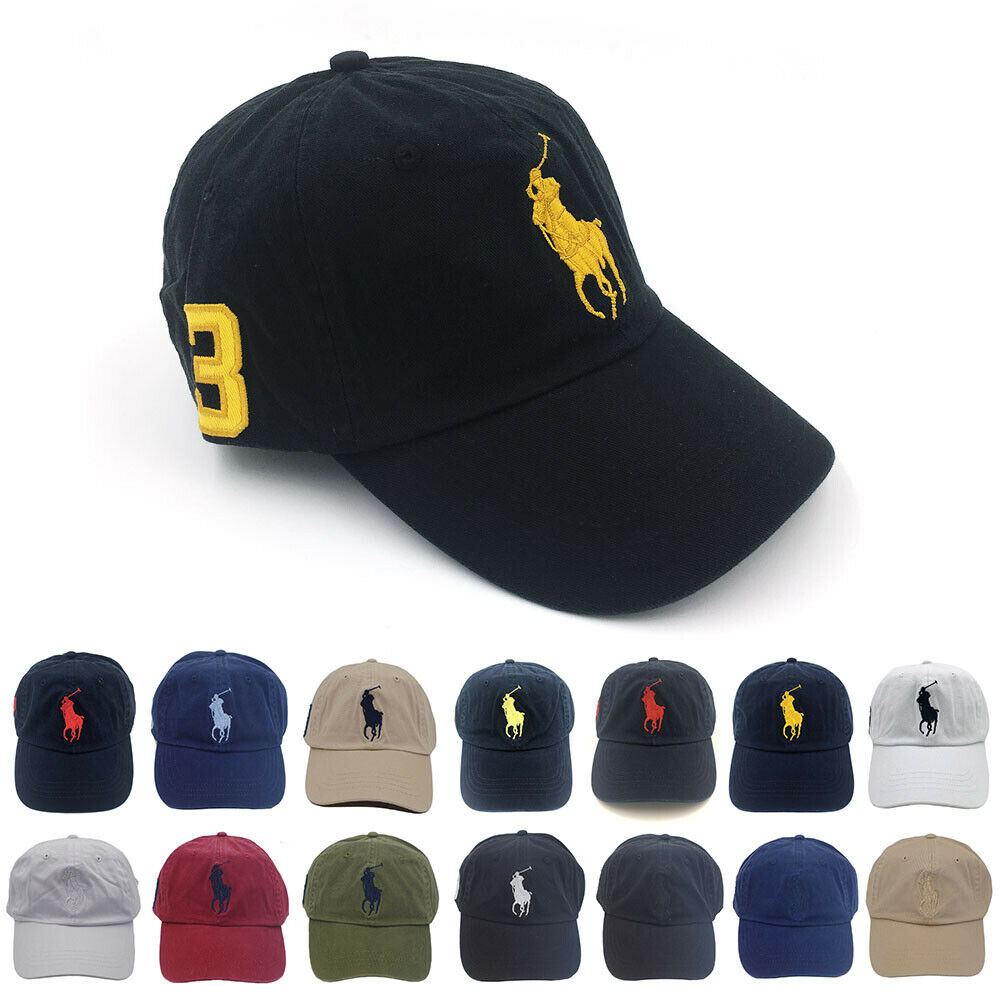 16e839b965d Details about Polo Baseball Cap With Fine Embroidery 3 Big Pony Logo Adjustable  Men s Hat NWT