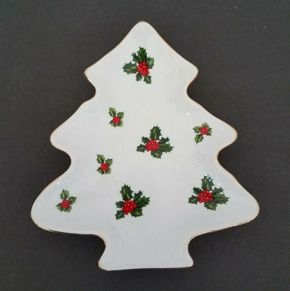 Christmas Berry Tree Hawaii: Lefton Holly Berry Christmas Tree Candy Trinket Dish Gold