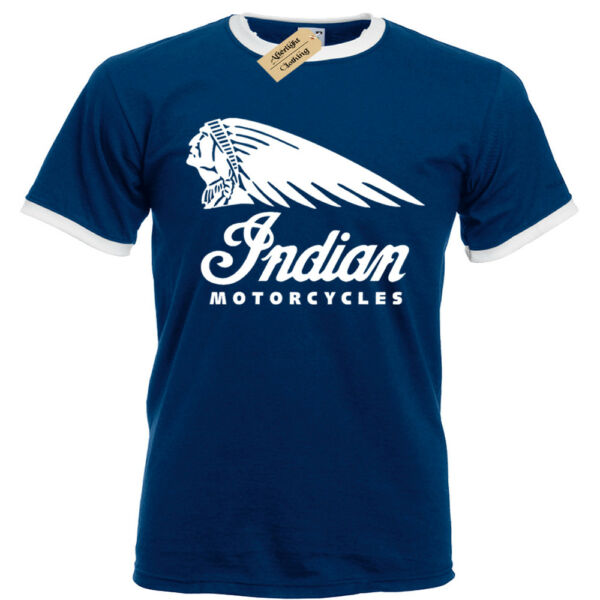 Indian Biker T-Shirt Mens Ringer Motorcycles Motorbike cafe racer bike classic