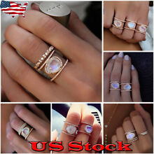 Jewelry Women Boho Moonstone Ring Oval 925 Silver Pleated Natural Gemstone Gifts