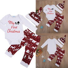 US Newborn Baby Boy Girl My First Christmas Romper Pants Hat Outfit Clothes Set