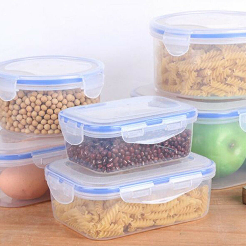 Details About 3 Size/set Stackable Nesting Food Storage Containers Clear  Lid Plastic Lunch Box