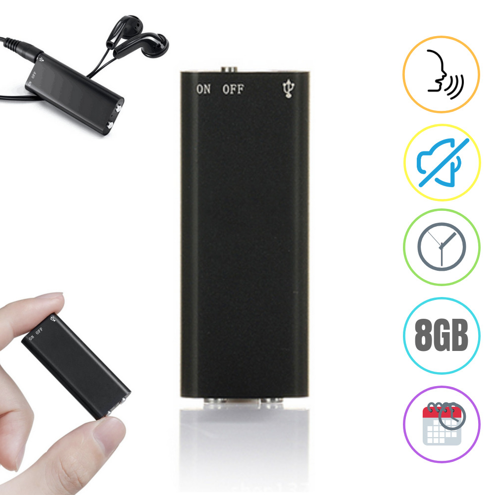 8gb Mini Spy Voice Recorder Audio Activated Listening