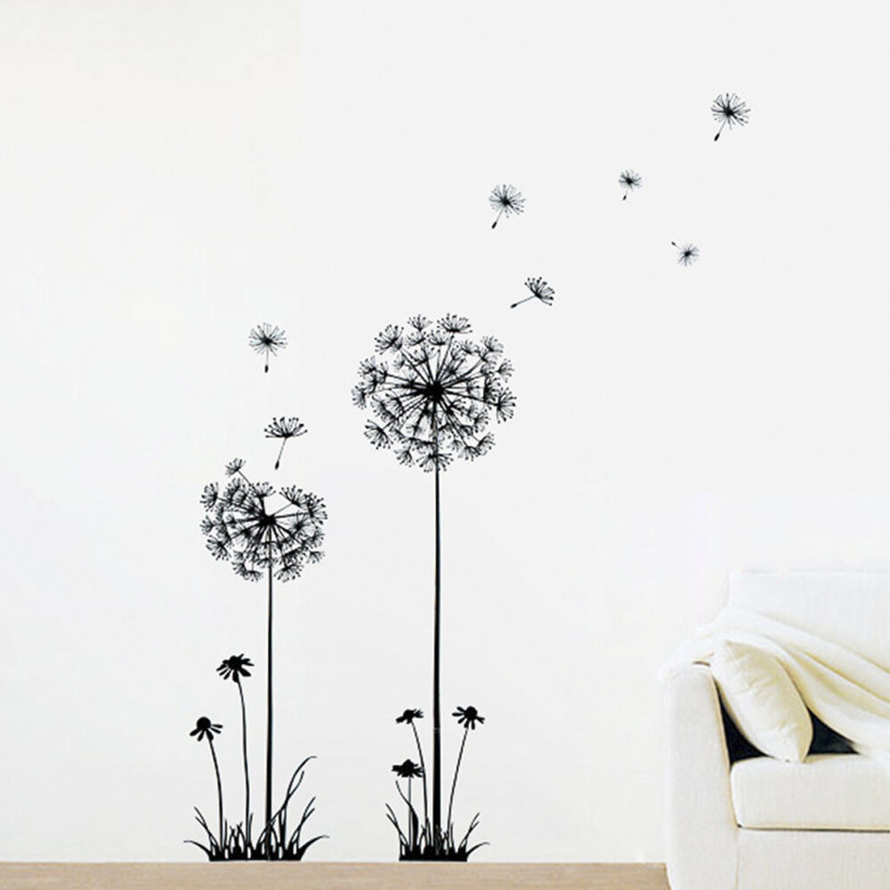 Details about delicate livingroom decor diy dandelion flowers black wall art decal stickers