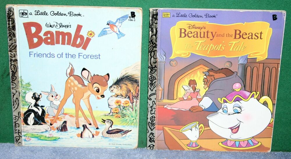 Details about Vintage Books - Walt Disney's Bambi & Beauty and the Beast -  Little Golden Books