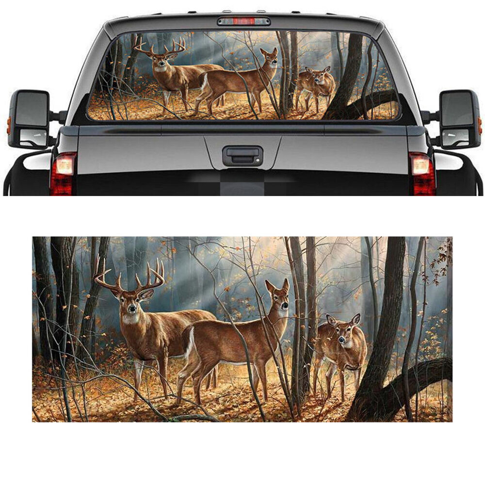 Details about pickup truck suv car rear window graphic decal tint print sticker deer animals