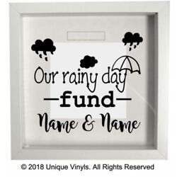 Personalised sticker - saving/moneybox sticker, Our rainy day fund add NAMES