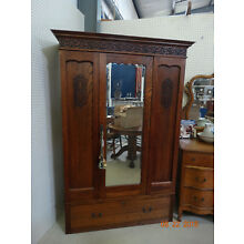 Antique Oak Wardrobe, Armoire with Center Mirror and Large Bottom Drawer