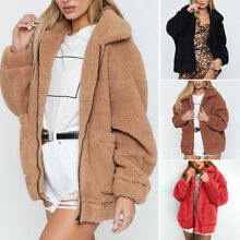 Fashion Womens Teddy Bear Oversized Coat Ladies Zip Up Faux Fur Jacket Outwear