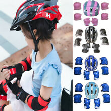 Christmas Kid Boy Girl Safety Helmet Knee Elbow Pad Sets For Cycling Skate Bike