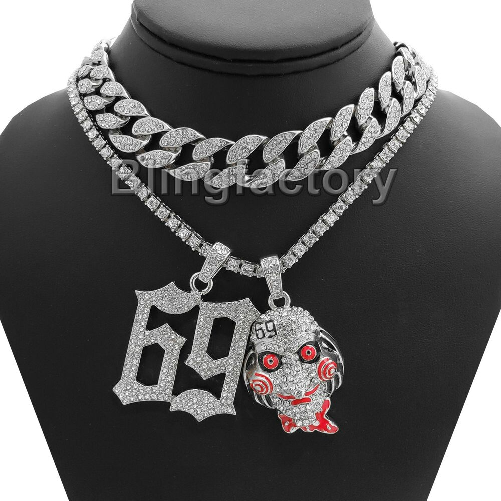 "69 Chain Jigsaw: Hip Hop 69 & Jigsaw Pendant & 18"" Full Iced Cuban & 1 ROW"