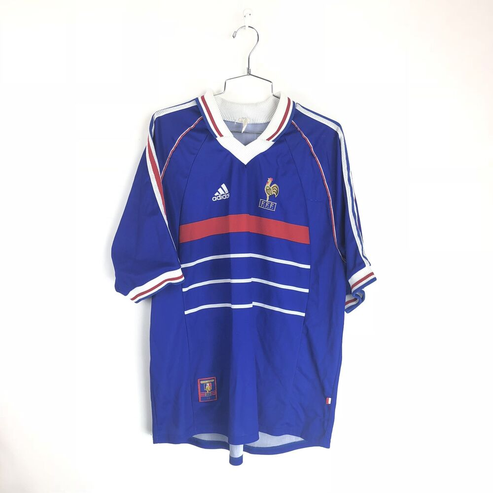 7226d20a6 Details about Vintage FFF Adidas France 1998 Home World Cup Soccer Jersey  Football Shirt Sz XL