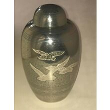Cremation Urn - Adult Size - Silver and Blue with Peace Doves