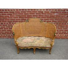 FRENCH STYLE CANED CANE CARVED WOOD SOFA SETTEE