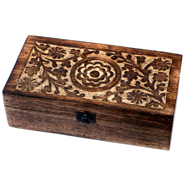 Aromatherapy Oils Carved Mango Wooden Storage Box -Holds 32 Bottles Compartments