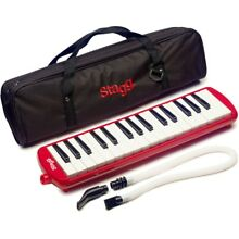 Stagg MELOSTA32RD Red Plastic Melodica Reed Keyboard 32 keys w/ Soft Case