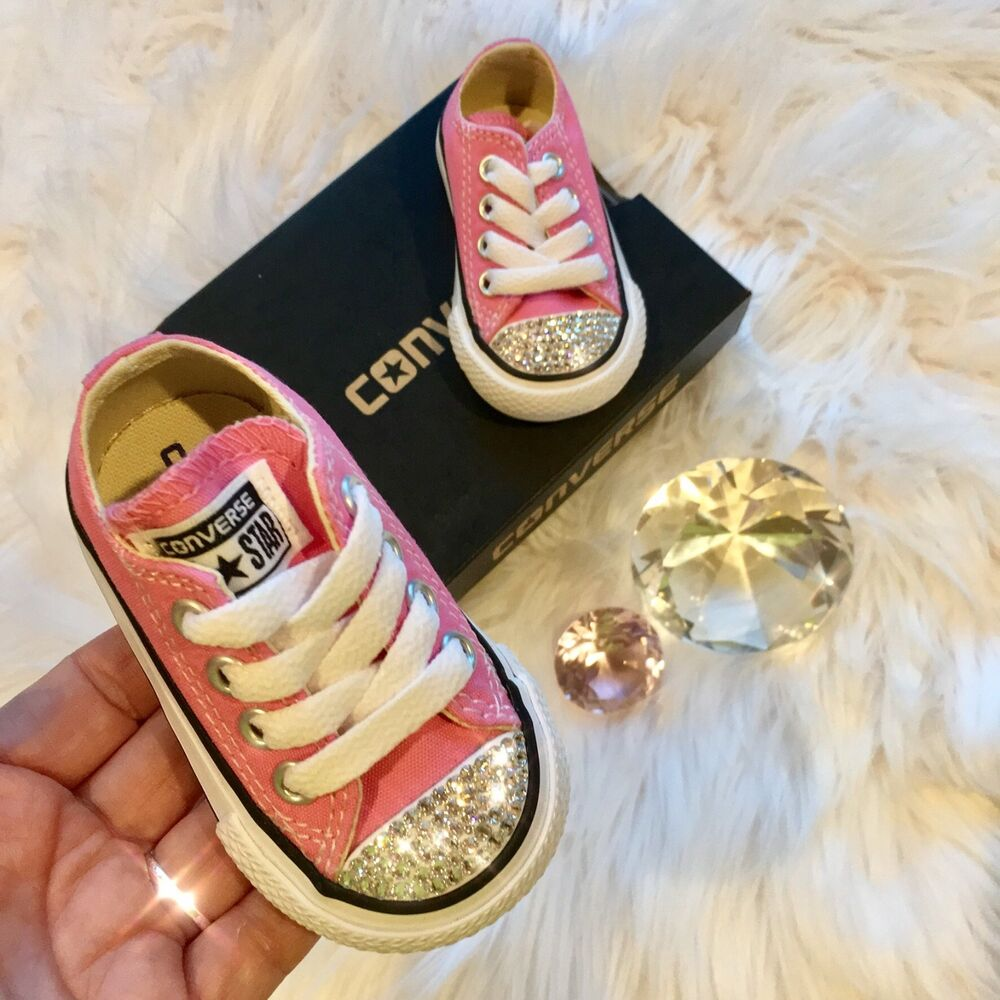 73d6fcaa6618 Details about Bling Converse All Star Chuck Taylor Infant Toddler Shoes w   Swarovski Crystals