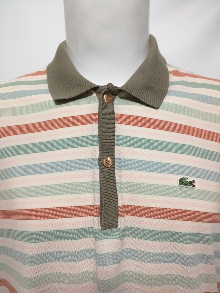 07d2701d Mens Lacoste Alligator Pink Blue Green Red Striped Golf Polo Shirt Size  7/XL | eBay