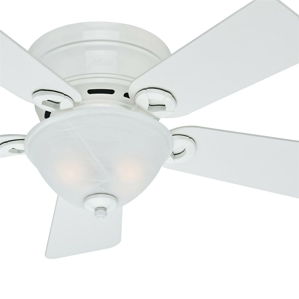 Details About Hunter 42 Inch Low Profile Ceiling Fan In Snow White With Bowl Light Kit