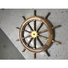 48' Teak/Brass Steering Wheel