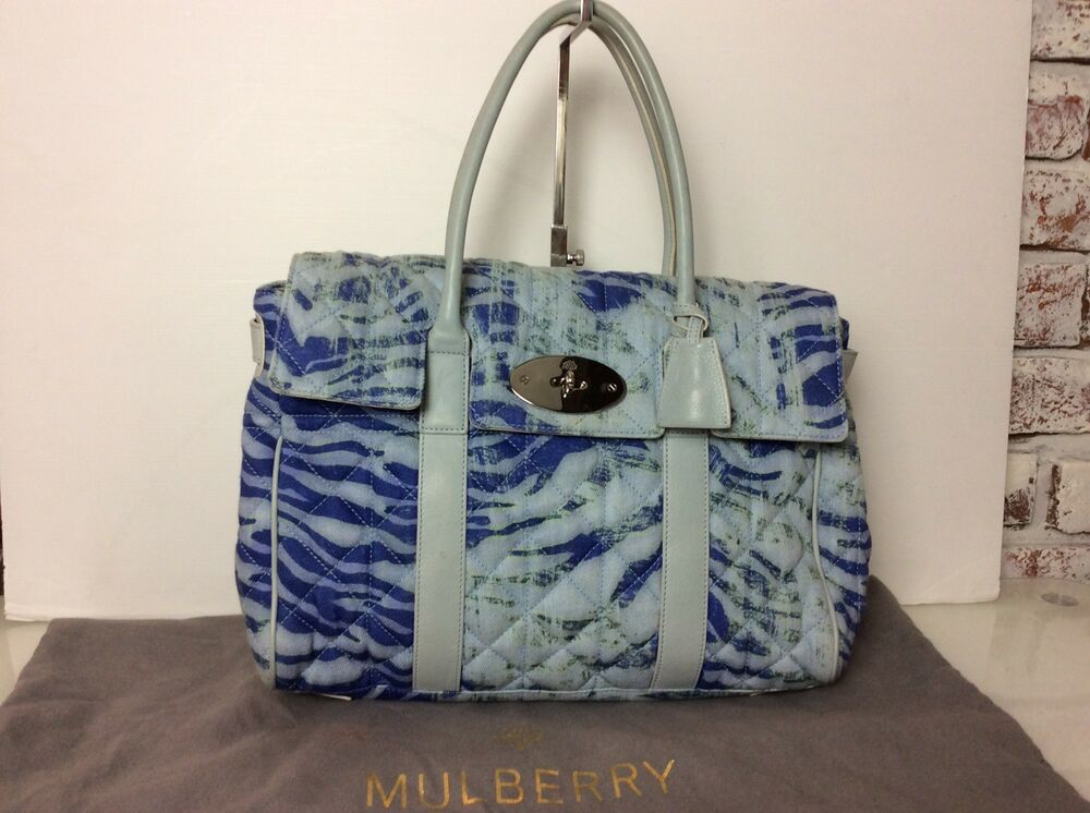 Authentic Mulberry Bayswater Trippy Tiger Blue Canvas Leather. Ex Condition    eBay 1d4653750b
