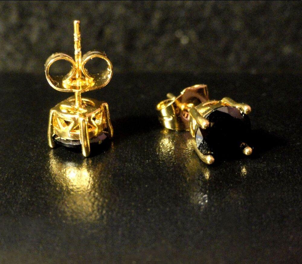 379f5ca86 Details about Men's deluxe 18K Yellow Gold Filled Sim Black Sapphire 7mm  Stud Earrings gift UK