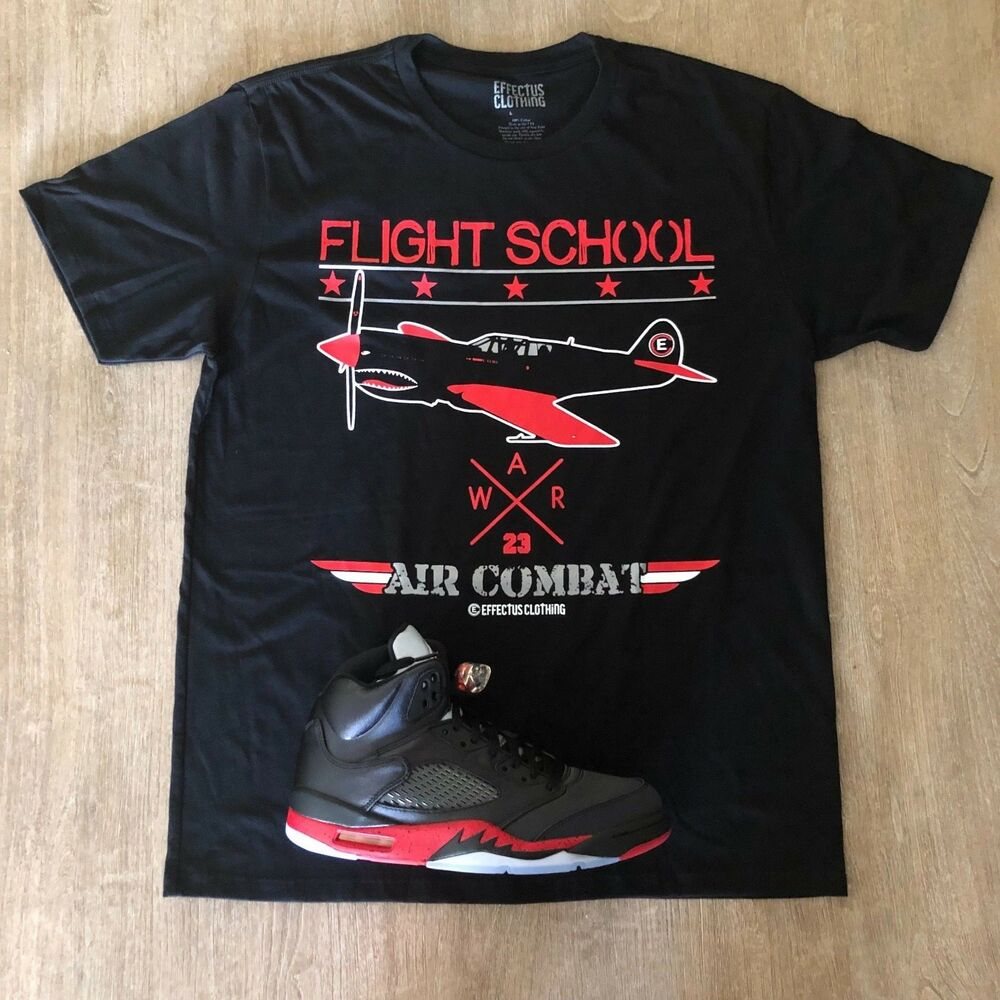 09576733123ab6 Details about Effectus Clothing Tee to match Air Jordan Retro 5 Satin.  Flight School Tee