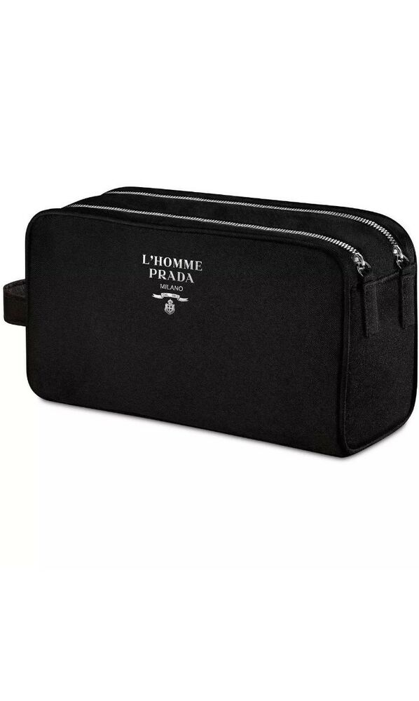 Details about PRADA L HOMME black toiletry pouch dopp kit travel case  shaving bag NEW IN BOX 2a2c412ce7