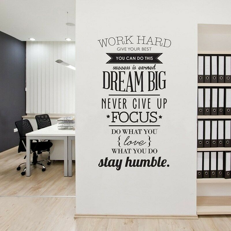 Image of: Wall Decor Details About 3d Art Inspirational Wall Vinyl Decals Stickers Quotes Office Work Removable Ebay 3d Art Inspirational Wall Vinyl Decals Stickers Quotes Office Work