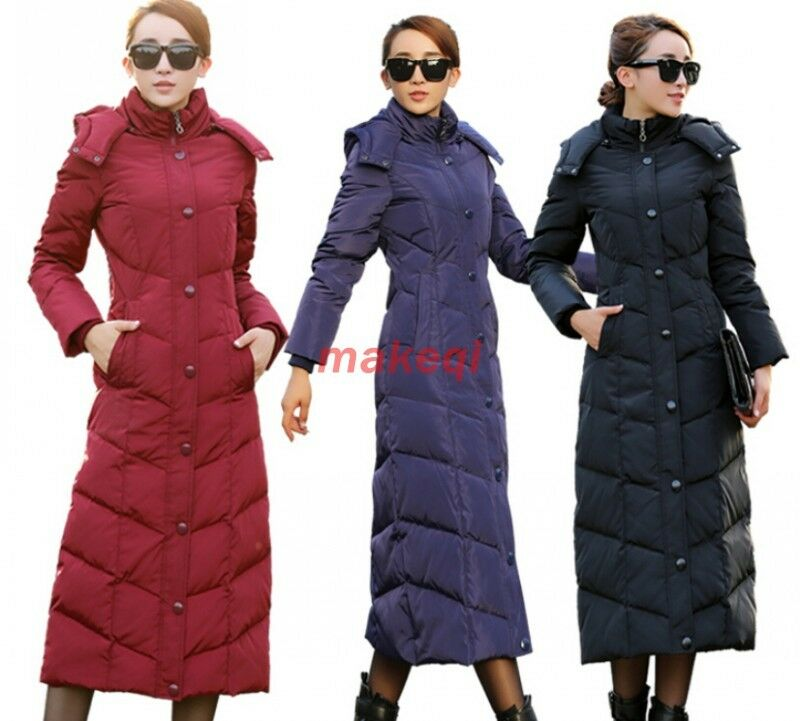 cf0af7bc907 Details about Womens Winter Winter Duck Down Puffer Long Knee Length Parka  Hooded Coat Jacket