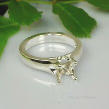 Round Tulip Sterling Silver Pre-Notched RING Setting