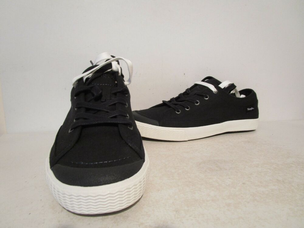 7972363619 Details about Simple Mens Wingman Fabric  Canvas Fashion Lace Up Low  Sneakers Black Size 9